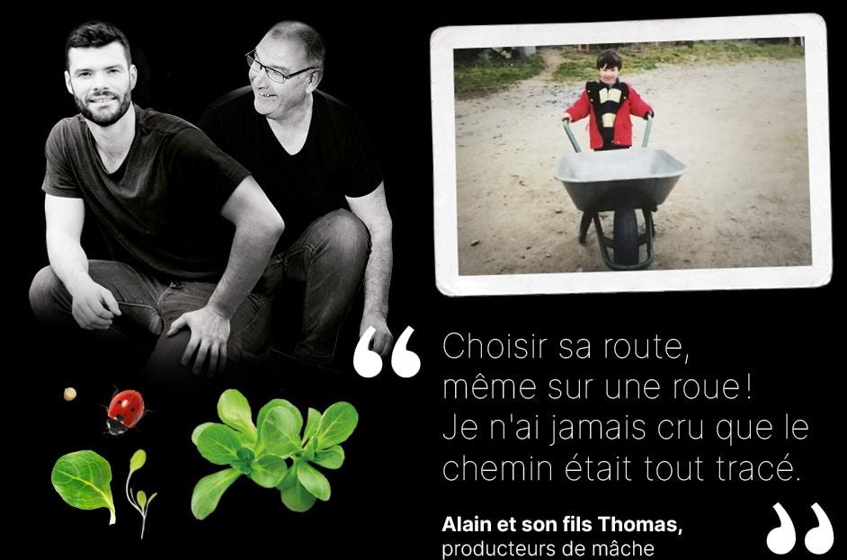 Portrait d'Alain et Thomas, producteurs de mâche et photo de Thomas à 6 ans poussant une brouette à une roue