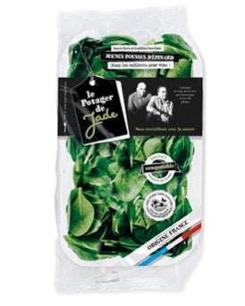 Sachet d'épinards en jeunes pousses avec sachet compostable et barquette recyclable