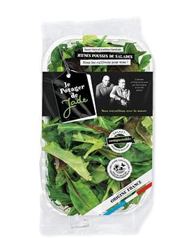 Flowpack de jeunes pousses de salades avec sachet compostable et barquette recyclable