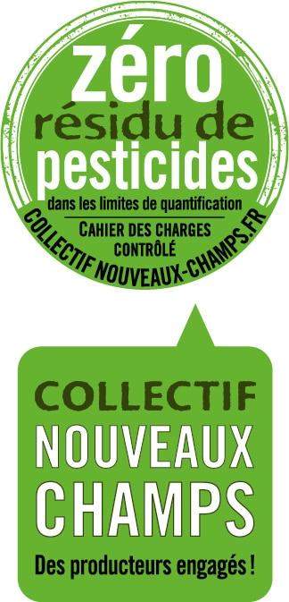 Logo Zéro Résidu de Pesticides et logo du collectif Nouveaux Champs