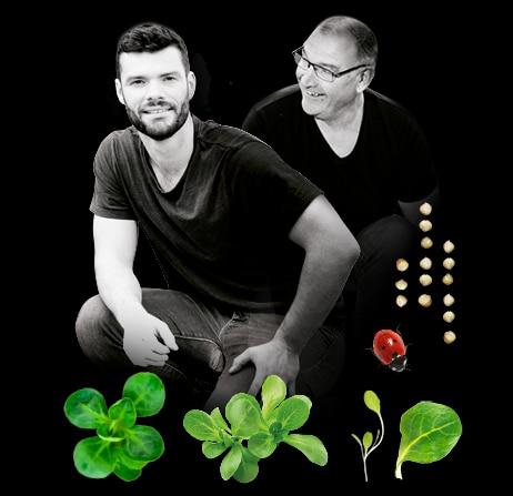 Portrait d'Alain et son fils, Thomas, producteurs de mâche du Potager de Jade
