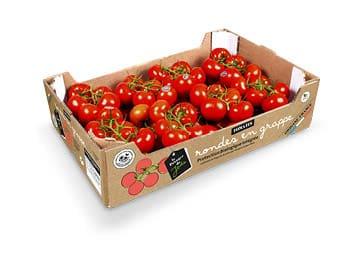 Carton en kraft brun de tomates rondes en grappe le Potager de Jade