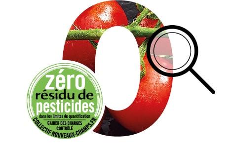 Gros plan de tomates en grappe, picto loupe et logo Zéro Résidu de Pesticides